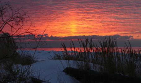 Indiana Dunes State Park Sunset Winter