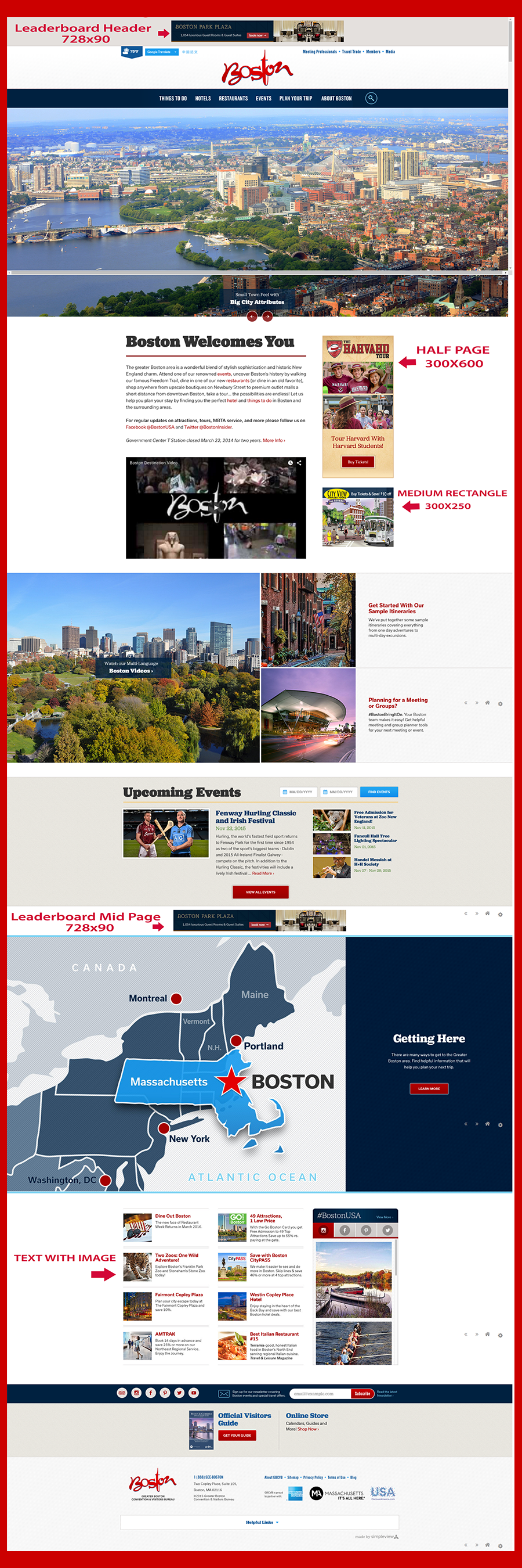Responsive Website homepage advertising