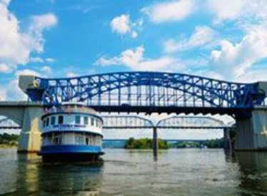 Cruising under Walnut Street Bridge on the Southern Belle Riverboat