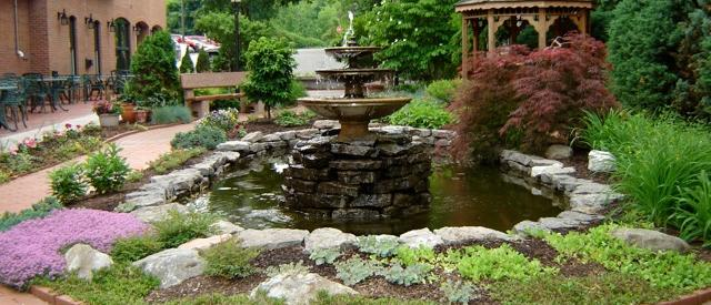 The garden patio outside of Warfield