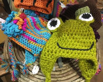 Knitted stocking hats at Frazee Gardens
