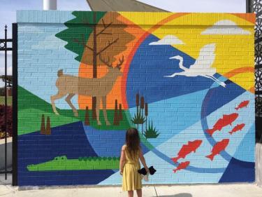 Millennium Park Mural with child