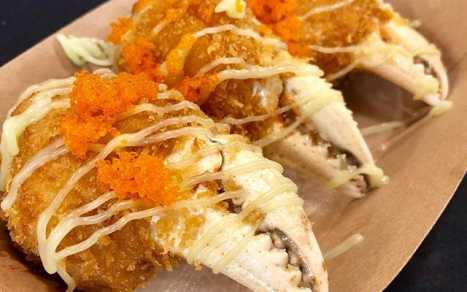 Stuffed crab claws with shrimp paste
