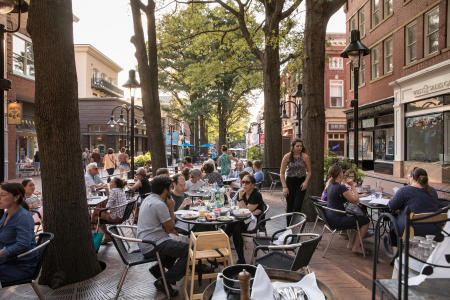 Dining outside on the Downtown Mall