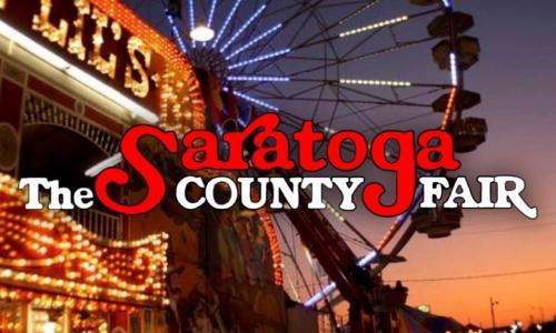 Saratoga County Fair ferris wheel with logo