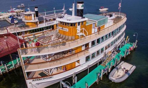 Lake George Shoreline Cruises Aerial of Boat