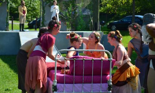 Saratoga Shakespeare Co. scene with bed