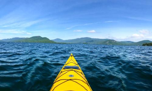 Lake George front of kayak on the water