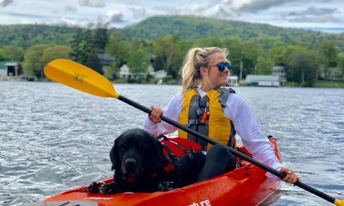 Lake George Kayak girl paddling