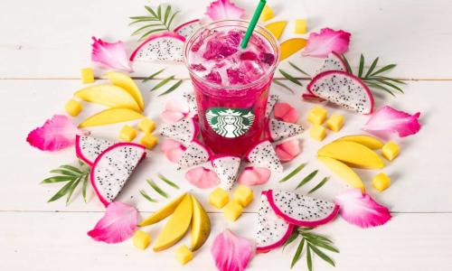 Starbucks Cafe, The Saratoga Hilton, summer drink surrounded by fruits and flowers