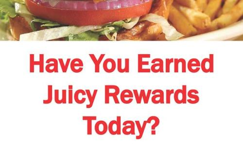 Juicy Burgers & More burger with rewards poster