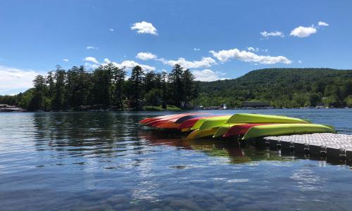 Lake George Kayak kayaks on dock