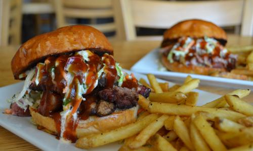 Juicy Burgers & More pulled pork and fries