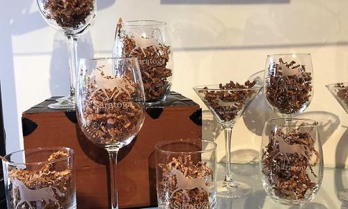 Dark Horse Mercantile wine glass display