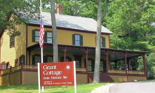 Grant Cottage Front View with Sign