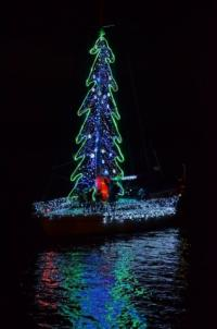 A floating tree made of lights at the Brunswick Christmas Boat Parade