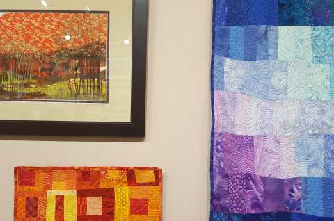 Mixed Media Collage and Fabric Wall Hangings