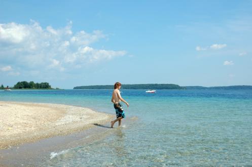 Taking a dip at Power Island