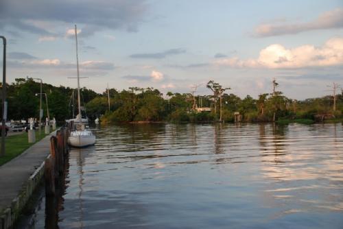 Sailboat at pier in Mandeville