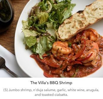 The Villa's BBQ Shrimp
