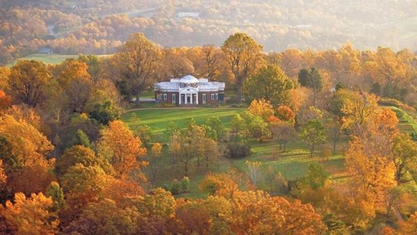 Aerial photo of Monticello in fall