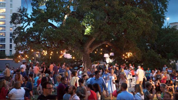 Crowd enjoying Austin Food and Wine Festival at twilight.