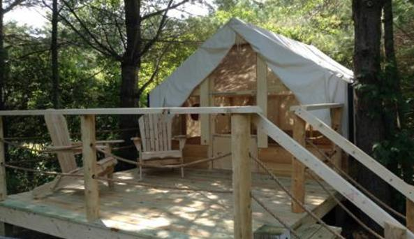 Glamping tent at 1000 Islands Campground