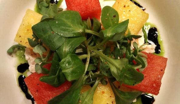 Crunchy Summer Watermelon Salad, Balsamic, Mache