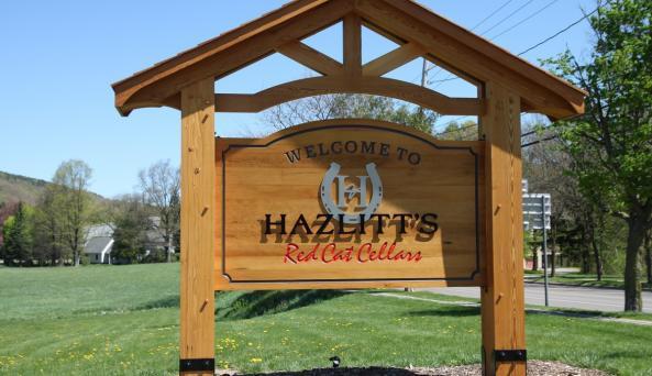 Roadside sign at Hazlitt's Red Cat Cellars