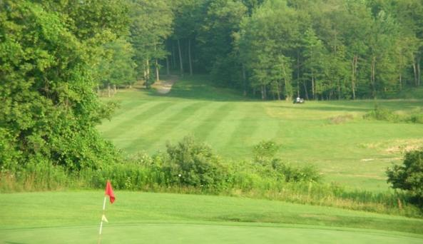 View downhill from one of the greens