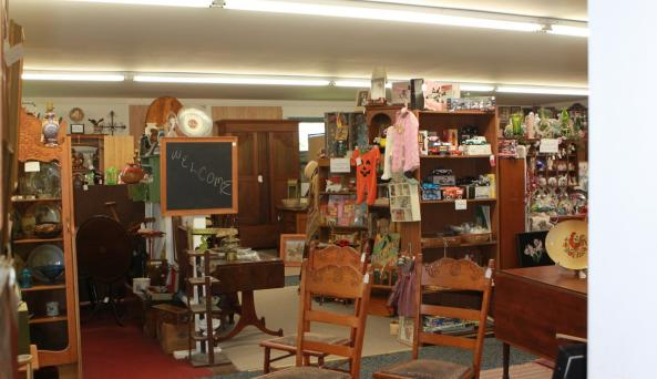 One of the rooms of antiques at One Potato Two