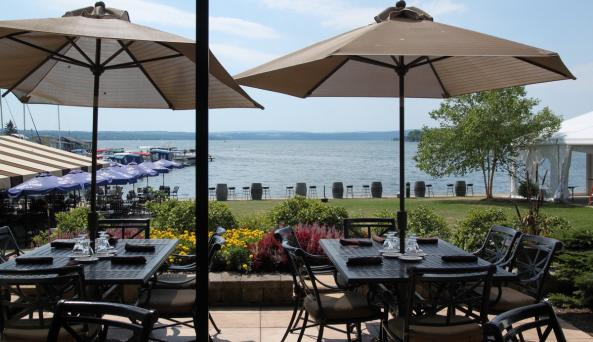 Dine on the patio at The Shore Restaurant overlooking Canandaigua Lake