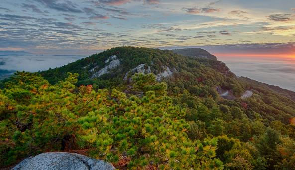 Sunrise over The Trapps at Mohonk Preserve by Gerald Berliner