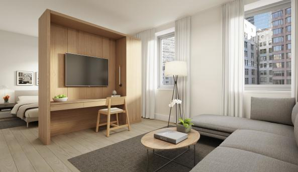 living room at AKA Wall Street