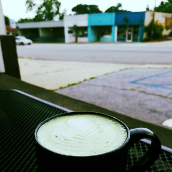 A delicious latte on the patio at Sips Espresso Cafe - Athens, Georgia