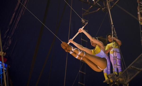 A girl on the trapeze.
