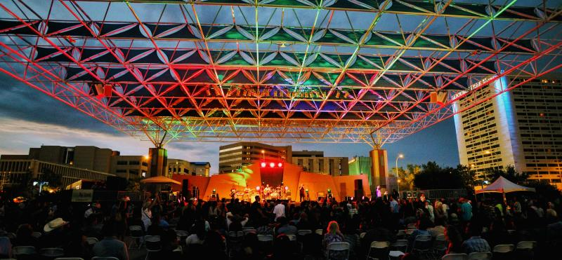 Live concert at downtown Civic Plaza