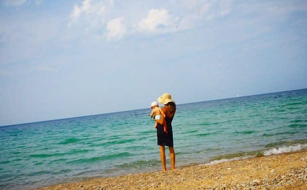 On beach with little boy
