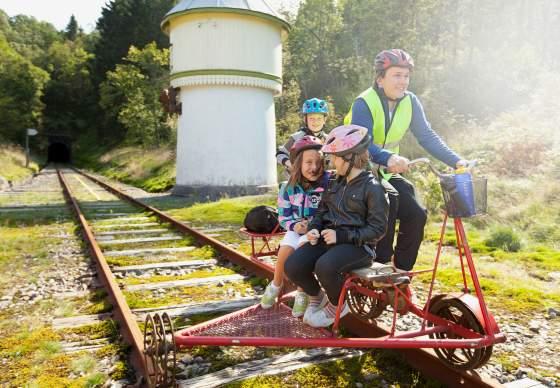 Draisine-Fahren im Flekkefjordbanen