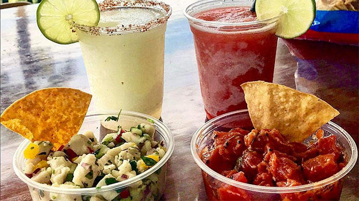 Bear Flag Poke with tortilla chips and margaritas