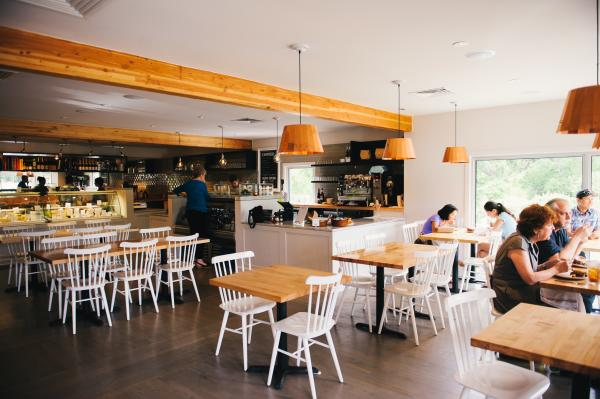 interior or epicerie with tables