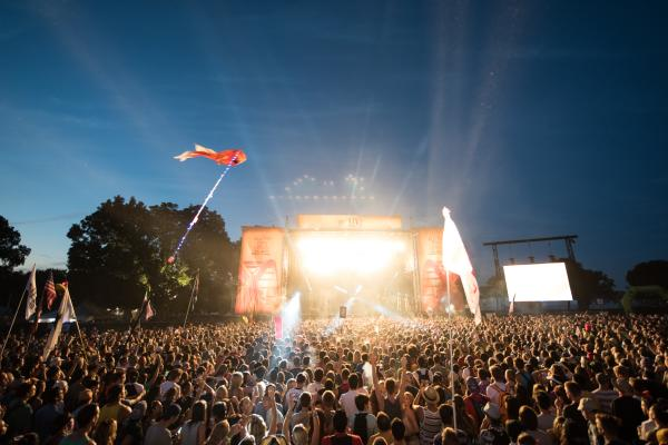 Crowd in front of Nero on stage at ACL
