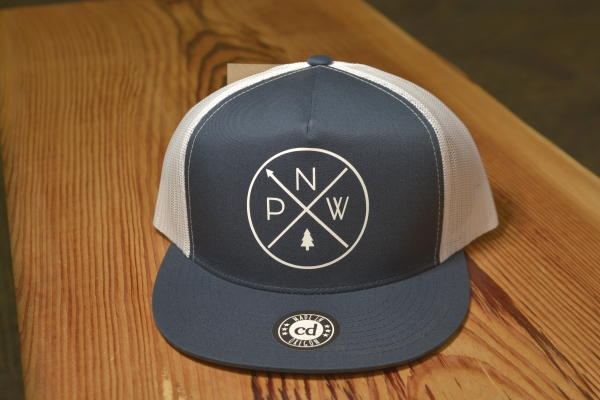 """Pacific Northwest"" Trucker Hats at the Adventure Center Gift Store"