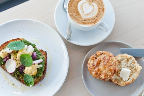Toast, coffee and a biscuit from Patika Coffee