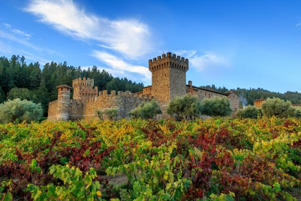 Castello di Amorosa winery in Napa Valley in autumn