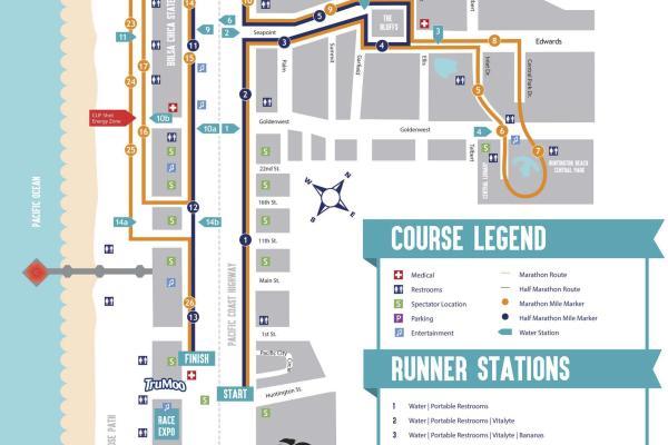 Huntington Beach Surf City Marathon Map