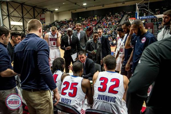Coach Rex Walters talks to Grand Rapids Drive team