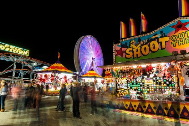 Rodeo Austin fairgrounds at night
