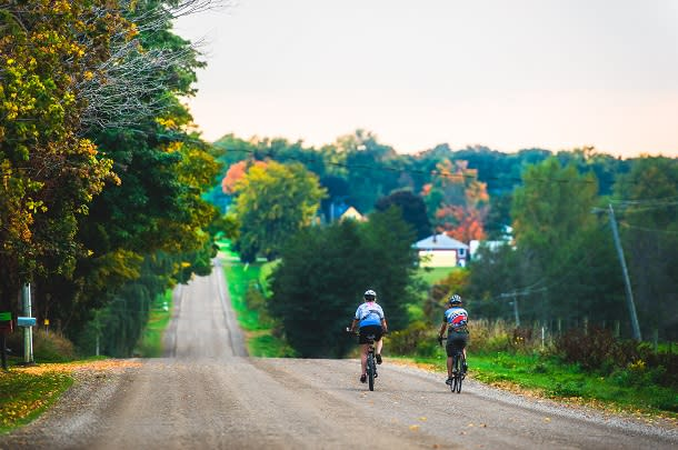 couple cycling in fall