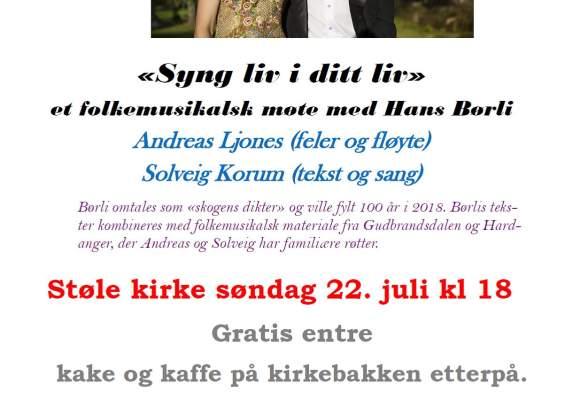 """""""Syng liv i ditt liv"""" - et folkemusikalsk møte med Hans Børli"""
